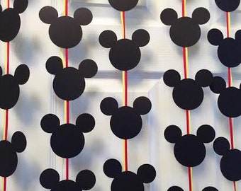 Mickey Mouse Silhouette Banner; Mickey Mouse Birthday Banner; First Birthday Party Decorations ; Disney Birthday Party ; Disney Party Decor