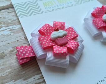 Pink Star Cupcake Hair Bow Hair Clip-Girl's birthday party hair clip-Party favor birthday party-Cupcake Bow Hair Clip-Cupcake Bow-Hairbow