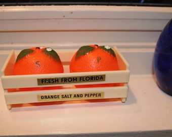 Vintage Florida Souvenir Plastic Orange Salt and Pepper Shaker Set of Two (2) In Plastic Carton