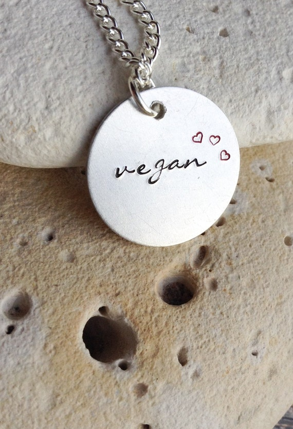 "Vegan necklace - vegan jewelry - Handstamped vegan animal rights necklace with tiny red hearts on 16"" chain"
