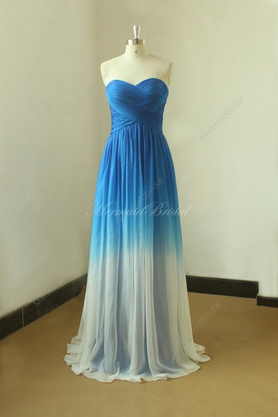 royal blue ombre tencel weddin dress from royal blue to ivory