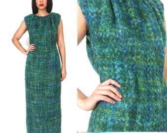 Vintage 50s Woven Green Plaid Wool Nubby Fuzzy Pauline Trigere Maxi Dress Glam