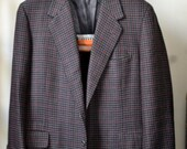 Vintage 80s OXXFORD Brown/Black Houndstooth w. Magenta Windowpane Overcheck MtM Sport Coat Approximately Size 42R
