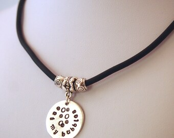 """Hand stamped """"eat my bubbles"""" swimmers necklace silver on black cord or chain"""