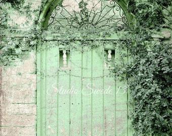 "Door Photography, Old Green Door, Door Print, Rustic Garden Architecture Decor, Shabby Cottage Chic Farmhouse Art- ""Weathered Green Cottage"""