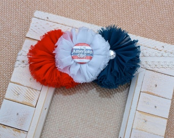 All American Girl Shabby Chic Chiffon Frayed Flower Headband (Red, White & Blue)