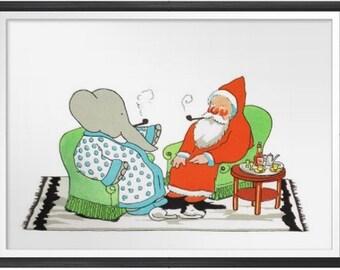 BABAR PRINT, The Elephant,  CHRISTMAS, Nursery Print, Story book print, Children's Wall Art print  - 8x10 Print