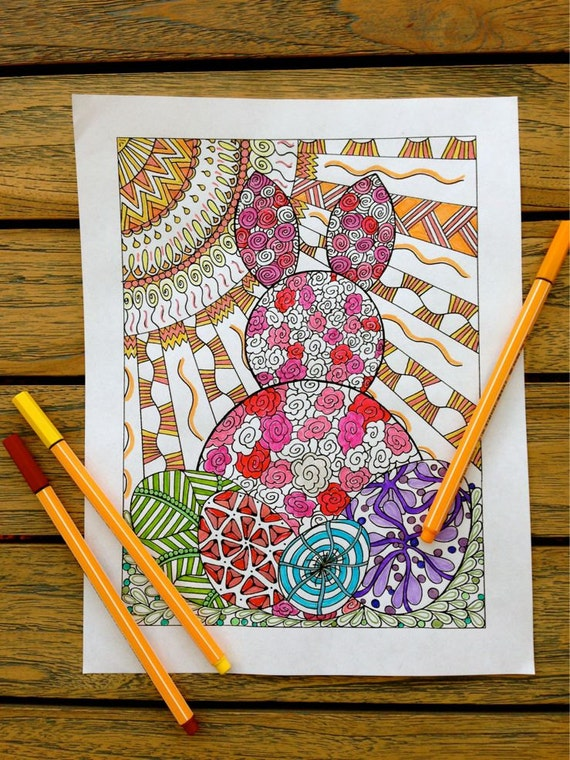 Easter Rabbit to Color, Easter Eggs Coloring Page - Printable Activity Sheet - Zentangle - Digital Download - Happy Easter Decoration
