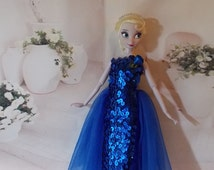 Bright Blue Sequin Gown handmade by Jan. Evening Gown is Inspired by Disney's Frozen Elsa or Anna Colors.