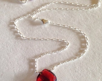 Garnet necklace with heart, sterling silver, Valentine's Day, heart necklace, love