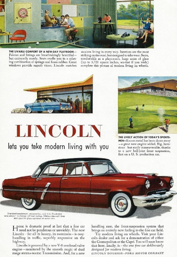 1952 lincoln car ad vintage red lincoln sedan by ford for Lincoln motor company headquarters