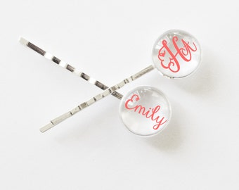 Custom monogrammed bobby pins - hair clips for girls - personalized hair accessories - monogrammed gifts