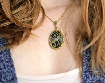 Recycled Collage Tiny Gold Oval Necklace