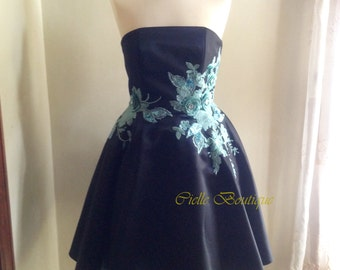 Black Duchess Satin Dress with Blue Floral Lace Applique / Prom Dress / Party Dress One of A Kind