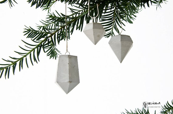 Concrete diamond ornaments holiday decor handmade