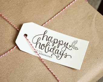 Happy Holidays Handwritten Script Calligraphy Rubber Stamp with Holly, Personalized or Non-Personalized