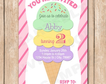 Ice Cream Birthday Invitation | Girl, Cone, - 1.00 each printed or 10.00 DIY file