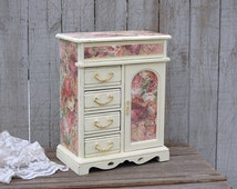 Jewelry Armoire, Shabby Chic, Jewelry Box, Ivory, Pink, Decoupage, Hand Painted, Upcycled, Roses, Wood, Distressed, Storage, Gift for Mom