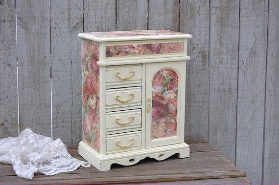 jewelry armoire shabby chic jewelry box ivory pink