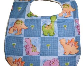 Dinosaur Bib - Baby Dino Bib - Reversible Super Absorbent Triple Layer - READY TO SHIP - Chenille Baby Bib - Chenille Bibs - Baby Bibs