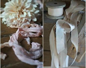 Luxurious Plant Dyed Silk Ribbon, CAFE AU LAIT 1 inch