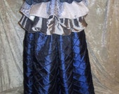 Tardis / Sapphire Blue Pintuck Taffeta Full Length Skirt