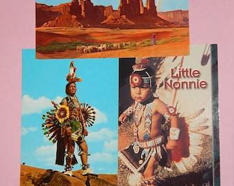 3 Native American Indian Postcards Navajo/Pawnee - Otoe - Arizona
