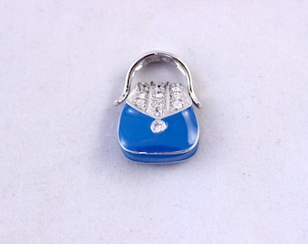 Platinum Over Silver White Sapphire and Blue Enamel Purse Pendant Charm, Enamel and White Sapphire Purse Pendant