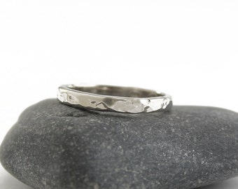 Hammered silver band ring Simple modern jewelry Textured silver stacking ring Minimalist jewelry Rhodium plated sterling silver ring