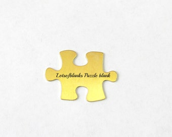 Brass Puzzle Blanks -Tumbled blanks - Autism Shape - Hand Stamping Blanks and Craft Supplies - shape blanks - autism shapes