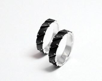 "Sterling Silver Industrial Steampunk Wedding Rings ""Ligarendum"""
