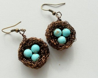 Bird nest earrings , birds nest earrings , wire wrapped earrings, beaded earrings, nature jewelry,  turquoise earrings