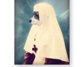 "Dog Art Print Chihuahua Art Anthropomorphic Photography Mixed Media Collage Art Nurse Gift Novelty Gift 8 x 10 ""Angel of Mercy"""