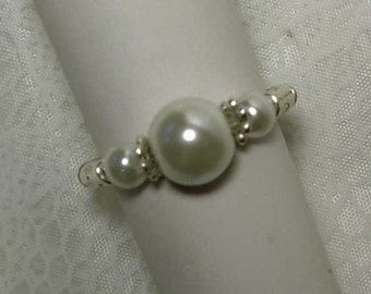 """Cynthia Lynn """"SIMPLE ELEGANCE"""" White Glass Faux Pearl Silver Plated Stretch Ring (Specify Size)"""