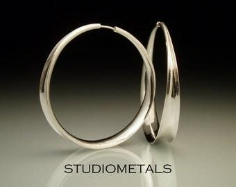 Large Hoop Earrings, 2 Inch Silver Hoop Earrings, Silver Hoop Earrings, Sterling Silver Earrings, Hammered Silver Earrings, Big Hoops, E169