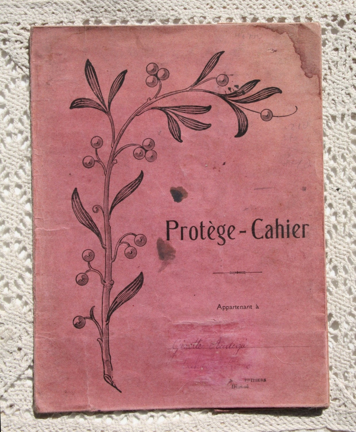French School Book Cover : Antique exercise book cover s french primary school