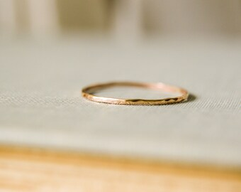 14k Gold-Filled Stacking Ring, 1mm Ultra Thin Band - One Ring, Hammered and Textured - Single, Simple, Elegant Gift twoblindmice