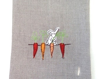 Tea Towel or Guest Towel Embroidered Bunny and Carrots in Linen