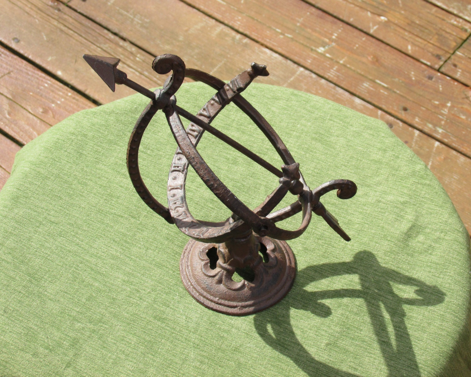 Vintage Rustic Old Cast Iron Zodiac Armillary Nautical Sphere