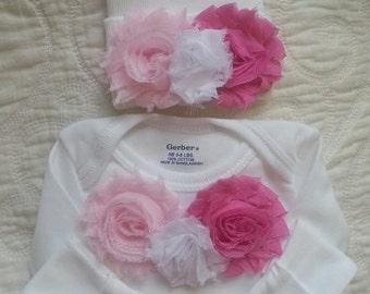 "Newborn Girl Shabby rose ""take me home outfit"", Matching hat and Long sleeve romper set.  Newborn Girl Gift Set.  Newborn hospital beanie"