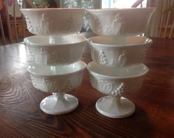 Vintage Indiana Glass Harvest Grape Sherbets - set of 6