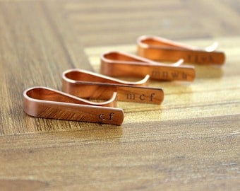 Groomsmen Gift Four (4) Personalized Copper Tie Clips / Monogram Tie Clip / Custom Tie Clip / Tie Bar / Father's Day Gift / Free Shipping