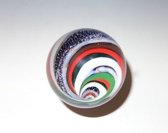 Striped Vortex Glass Marble, Red, Green, White, Dichroic with Abstract Back - flamework, lampwork, borosilicate