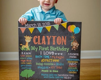 Jungle Birthday Chalkboard Poster Zoo Theme Animals Jungle Theme Safari Theme 16x20 First Birthday Poster