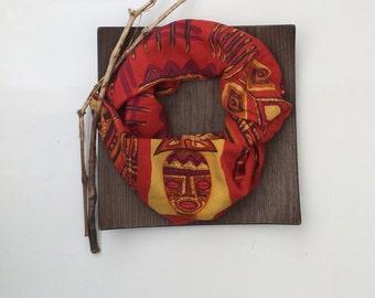 Tribal African Scarf, Cotton Printed Scarf, Printed Circle Scarf, Men's Loop Scarf, Burnt Orange Scarf, Infinity Scarf, Women's Foulard