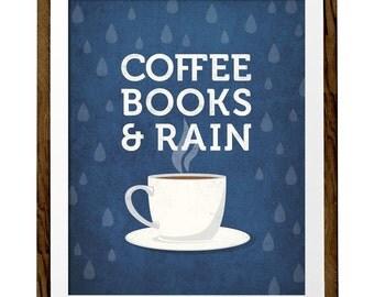 Coffee books and rain coffee print coffee poster Kitchen wall art Retro print Blue print Blue kitchen decor kitchen print