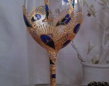 19th Birthday personalized wine glass Gold peacock feathers Birthday gift