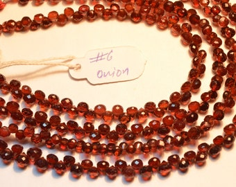 AAA 8 Inch Strand 4-4.5mm Natural Mozambique Red Garnet Microfaceted Onion Briolette Beads-68 Beads Apx/Strand(#6)