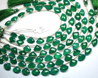 AAA 9 Inch-12-16mm Emerald Green Onyx Fancy Axe Shape Beads Strand-15 Beads/Strand-Green Onyx Faceted Fancy Beads(DC)