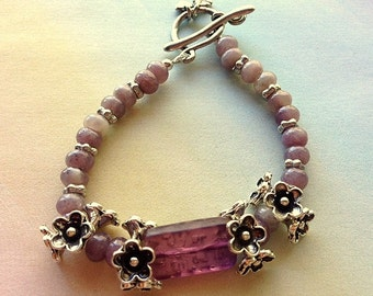 Sale: Lavender Flower Bracelet Karen Hill Tribe Fine Silver Flowers and Lavender Agate with Vintage Glass Focal Bead